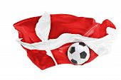 The National Flag Of Danmark. Flag Made Of Fabric. Football And Soccer Concept. Fans Concept. Soccer poster