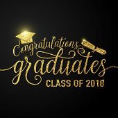 Vector Illustration On Black Graduations Background Congratulations Graduates 2018 Class Of, Glitter poster