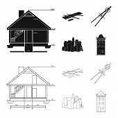 Drawing Accessories, Metropolis, House Model. Architecture Set Collection Icons In Black, Outline St poster