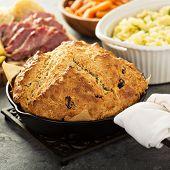 Irish Soda Bread In Cast Iron Pan, Traditional Irish Recipe poster