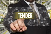 The Businessman Chooses Tender On The Touch Screen With A Futuristic Background .the Concept  Tender poster