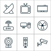Hardware Icons Set With Tablet, Web Cam, Desktop Pc And Other Gadget Elements. Isolated  Illustratio poster