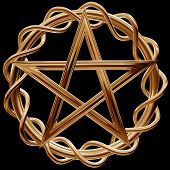 stock photo of wiccan  - Illustration of an ornate gold pentagram on a black background - JPG