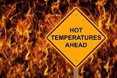 Hot Temperatures Ahead Warning Sign With Flaming Background poster