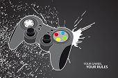 pic of video game controller  - Vector console or PC joystick on black background - JPG