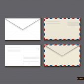 Set Of Two White Paper Envelope And Two Airmail Envelope On Gray Background. Vector Illustration poster