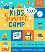 Poster For The Kids Summer Camp, Concept With Handdrawn Lettering, Camping And Travelling On Holiday poster