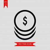 Dollar Coins Icon Vector In Modern Flat Style For Web, Graphic And Mobile Design. Dollar Coins Icon  poster