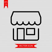 Shop Icon Vector In Modern Flat Style For Web, Graphic And Mobile Design. Shop Icon Vector Isolated  poster