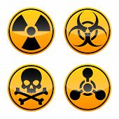 Danger Vector Sign Set. Radiation Sign, Biohazard Sign, Toxic Sign, Chemical Weapons Sign. Warning S poster