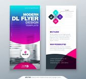 Dl Flyer Design. Purple Business Template For Dl Flyer. Layout With Modern Circle Photo And Abstract poster