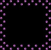 Square Frame Made Of Pink Animal Paw Prints On Black Background. Vector Illustration, Template, Bord poster