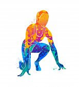 Abstract Runners On Short Distances Sprinter From Splash Of Watercolors. Vector Illustration Of Pain poster