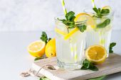 Lemonade. Summer Cold Drink With  Lemon, Mint And Ice. Close Up. poster
