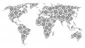 Global World Map Concept Combined Of Boat Steering Wheel Icons. Vector Boat Steering Wheel Items Are poster