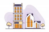 Vector Illustration For Real Estate Business: Urban And Suburban Buildings Or Houses Made In A Flat  poster