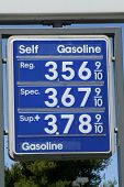 image of high-octane  - Sign showing High Gas Prices in America - JPG