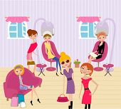 picture of beauty salon interior  - women in a beauty salon getting a hairstyle and manicure - JPG