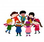 pic of happy kids  - group of happy children holding hand around - JPG