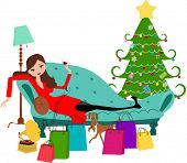 foto of pretty girl  - pretty girl on sofa - JPG