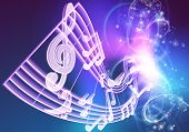 A Music Background Featuring Musical Music Notes Woth A Neon Like Glow poster