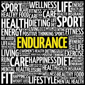 Endurance Word Cloud Collage, Health Concept Background poster