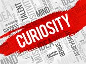 Curiosity Word Cloud Collage, Creative Business Concept Background poster