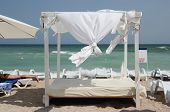 Gazebo On The Beach - Canopy- A Beautiful, Salt Sea Beach With A Canopy Screen. poster