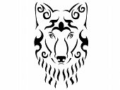 Tribal Wolf Illustration, Wolf In Tribal Style, Ornamental Wolf Illustration, Animal Tattoo poster