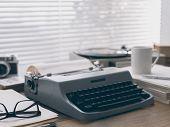 Writer And Journalist Vintage Desktop With Typewriter poster
