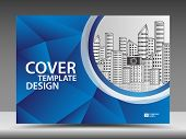 Blue Cover Template For Business Industry, Real Estate, Building, Home, Machinery. Horizontal Layout poster