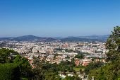 The city of Braga seen from the top of the staircase of the Bom Jesus do Monte Sanctuary. Braga is t poster