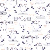 Be Strong. We Can Do It. Motivation Background With Sheep, Rod, Dumbbells And Text. Seamless Pattern poster