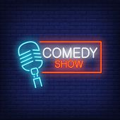 Comedy Show Neon Sign. Microphone With Rectangular Frame On Brick Wall Background. Night Bright Adve poster