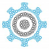 Cogwheel Mosaic Of Cogwheels. Vector Gear Symbols Are Combined Into Cogwheel Pattern. poster