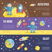 Outer Space, The Moon, Galaxy Cartoon Banners. Spaceship And Astronaut In Spacesuit On Moon Surface, poster