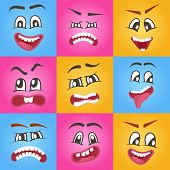 Emoticons Or Funny Smileys Icons Set. Happiness, Anger, Joy, Fury, Sad, Playful, Fear, Surprise Smil poster