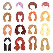 Hairstyle Woman Vector Female Haircut On Short Or Long Hair And Wigs Illustration Hairdressing Or Ha poster