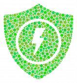 Electric Guard Mosaic Of Dots In Different Sizes And Fresh Green Color Tinges. Vector Dots Are Organ poster