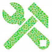 Hammer And Wrench Mosaic Of Filled Circles In Various Sizes And Eco Green Shades. Vector Round Dots  poster