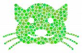 Kitty Collage Of Filled Circles In Variable Sizes And Ecological Green Shades. Vector Filled Circles poster
