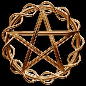 pic of freemasons  - Illustration of an ornate gold pentagram on a black background - JPG