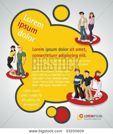 Orange and red template for advertising brochure with teenager students