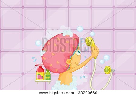 Illustration of a girl showering - EPS VECTOR format also available in my portfolio.
