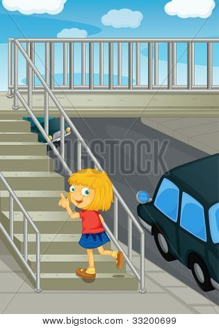 Abbildung des Mädchens mit Überführung - EPS-Vektor-Format auch in meinem Portfolio verfügbar.
