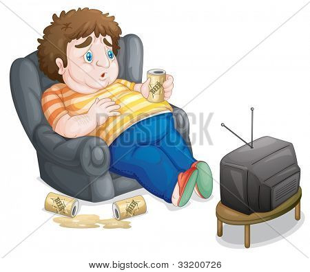 Illustration of a fat and unhealthy man - EPS VECTOR format also available in my portfolio.