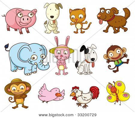 Illustration of cartoon animals on white - EPS VECTOR format also available in my portfolio.