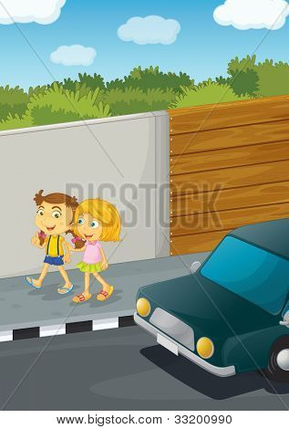 Illustration of 2 girls walking down the street - EPS VECTOR format also available in my portfolio.