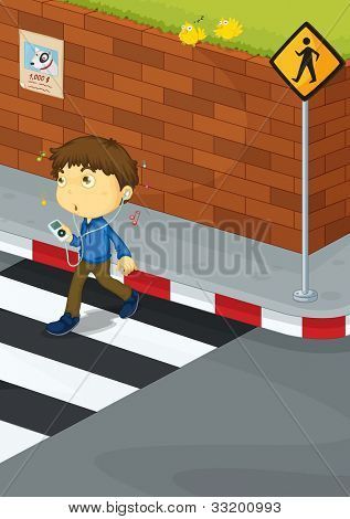 Illustration of a boy crossing the road - EPS VECTOR format also available in my portfolio.