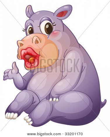 Illustration of a hippo with sexy lips - EPS VECTOR format also available in my portfolio.